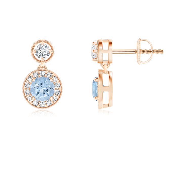 Angara Dangling Aquamarine and Diamond Halo Earrings in Rose Gold GLTGN90j