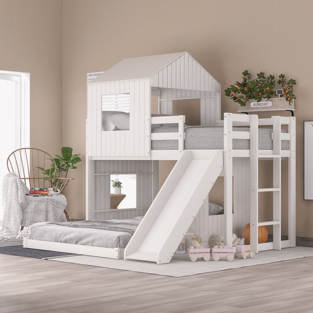 Wooden Twin Over Full Bunk Bed Loft Bed With Playhouse Farmhouse Ladder Slide And Guardrails For Kids Toddlers Boys Girls White Walmart Com Walmart Com