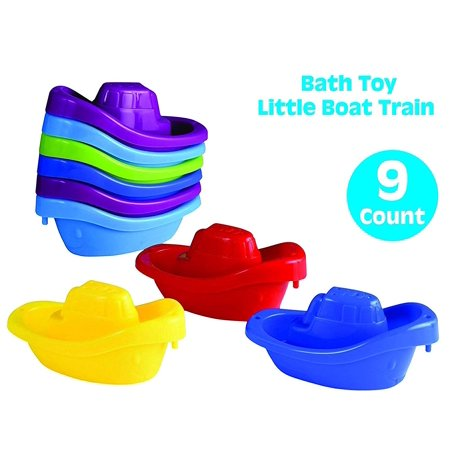 Playkidz Bath Toy Little Boat Train Pack of 9 Stackable Plastic Kids Tugboats for Bathtub & More in 6 Colors Ages 3