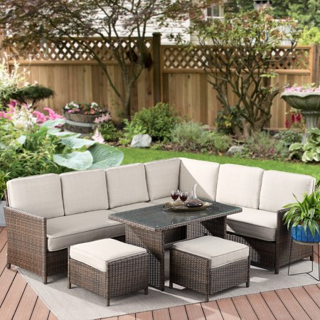 Better Homes & Gardens Mayers Bay 7-Piece Sectional Dining Set with Tan Cushions