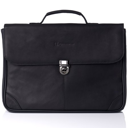 Embassy Genuine Briefcase (Alpine Swiss Business Portfolio Genuine Leather Briefcase Flap-Over Locking Case Black One Size)