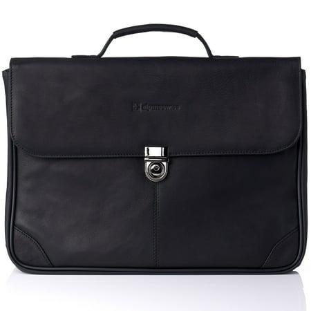 Alpine Swiss Business Portfolio Genuine Leather Briefcase Flap-Over Locking Case Black One (Black Leather Business Briefcase)
