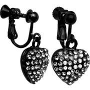 Black Heart Clip On Earrings