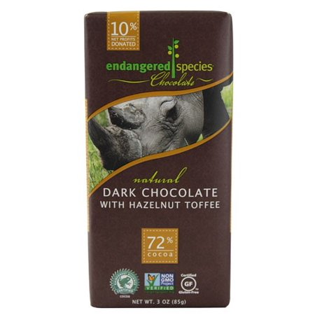 Endangered Species Chocolate Bar, Dark Chocolate Hazelnut Toffee, 3 Oz