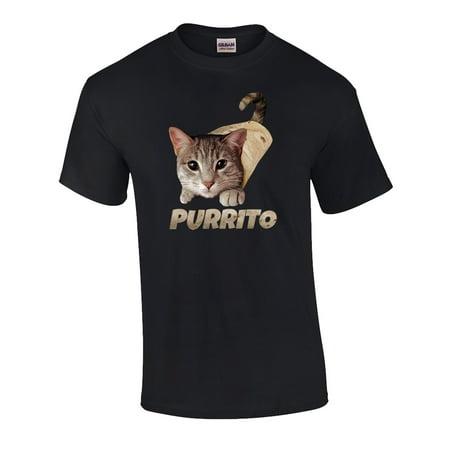 Funny Purrito Cat In Burrito Graphic Adult Short Sleeve