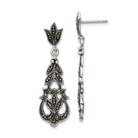 925 Sterling Silver Marcasite Post Stud Earrings Drop Dangle Fine Jewelry Ideal Gifts For Women Gift Set From Heart