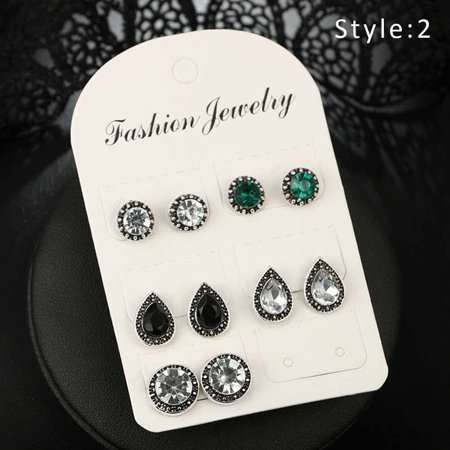 Crystal Zircon Circle Earrings (New 5 Pairs Women Earrings Set Crystal Zircon Bohemian Stud Earring Jewelry)
