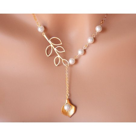Pearly Lily Lariat Necklace White And Yellow Gold Plated