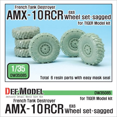 DEF Model 1:35 French AMX-10 RCR 6X6 Sagged Wheel for Tiger Model Resin  #DW35085