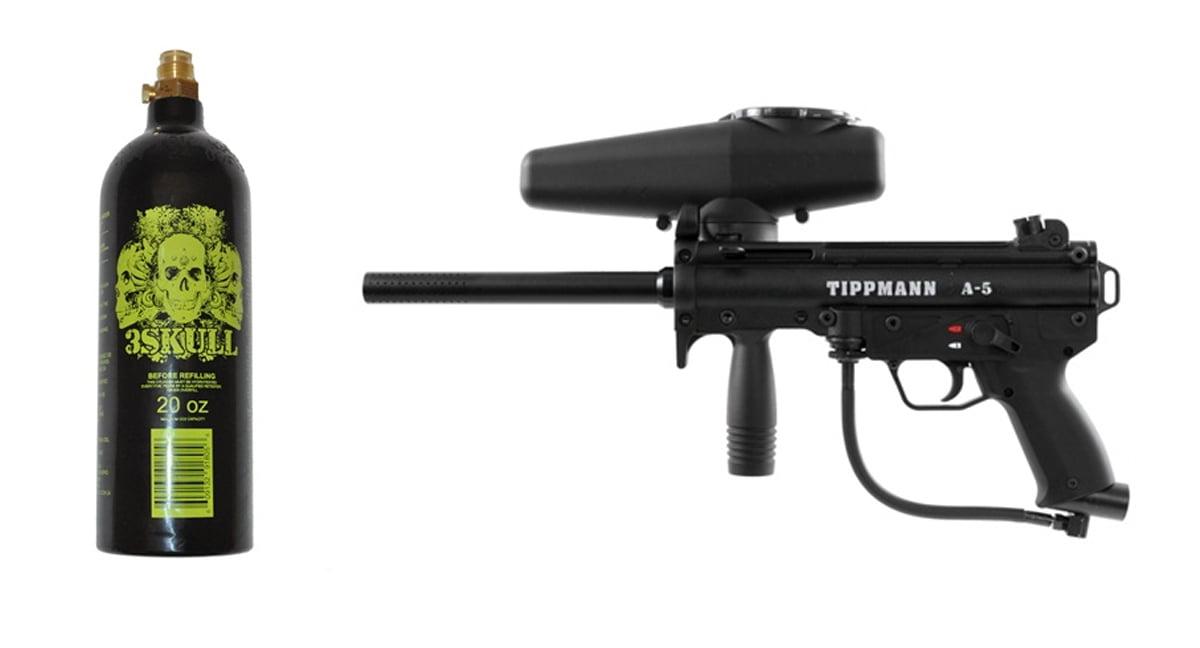 Click here to buy Tippmann A-5 Paintball Marker Gun & 20oz Tank Set.