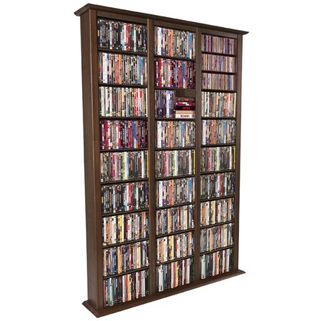Venture Horizon Double 76″ Tall CD DVD Wall Media Storage Rack-Walnut