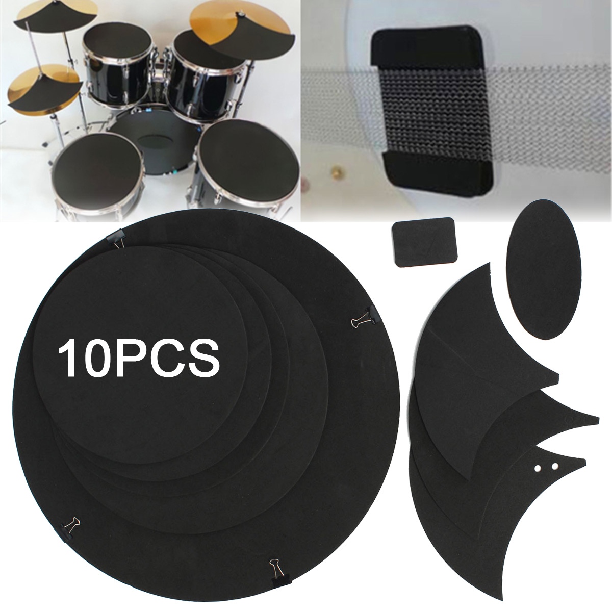10Pcs Bass Snare Tom Sound off / Drums Silencer Pad Quiet Drum Mute Silencer Drumming Practice Pad Set Black