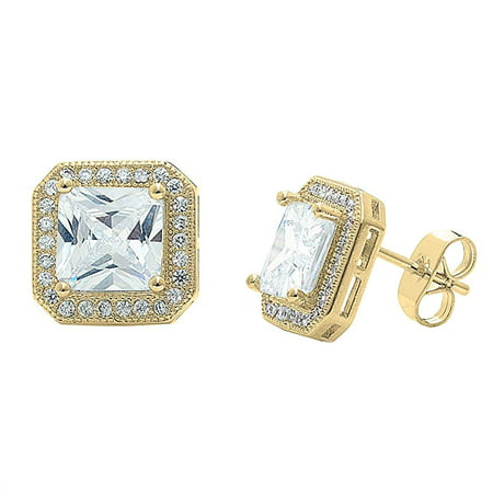 Cate Chloe Londyn 18k Gold Plated Princess Cut Cz Halo Stud Earrings Sparkling Cer Earring Set W Solitaire Gemstone