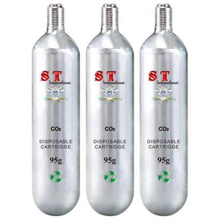 (S.T. International CO2 Cartridge Refill - Disposable Cylinder 3 Pack, 95g)