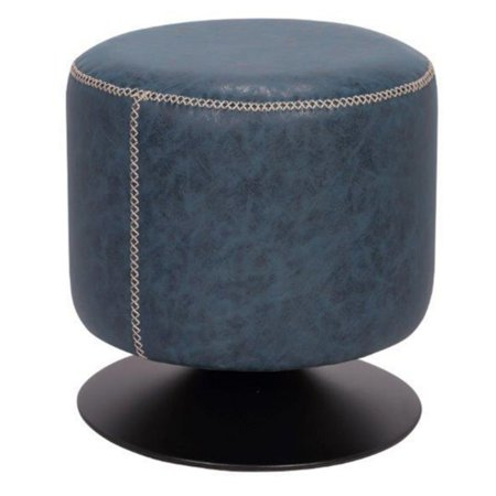 Marvelous 5035 Round Vintage Upholstered Ottoman Black Blue Pu Caraccident5 Cool Chair Designs And Ideas Caraccident5Info