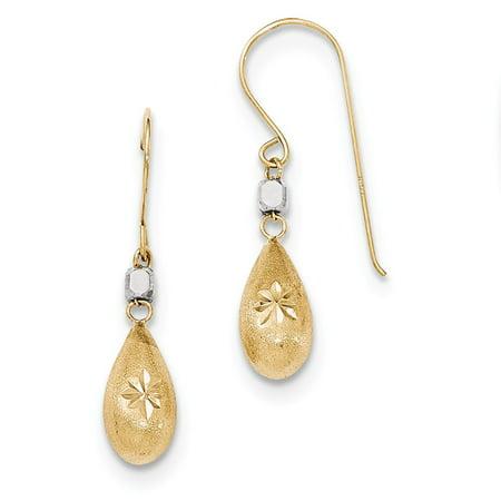 14K Two Tone Gold Satin Diamond Cut Puffed Teardrop Shepherd Hook Earrings  32Mm X 6Mm