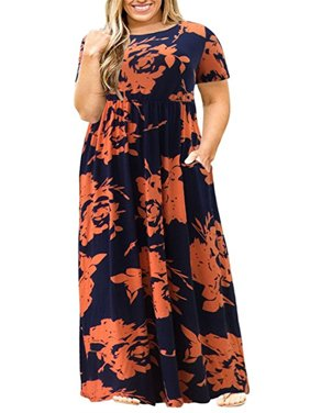 Plus Size Women Short Sleeve Floral Long Dress
