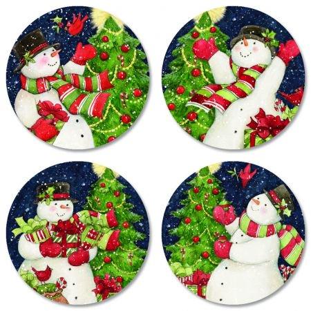 Snowman Tree Envelope Seals - Set of 144 Self-Adhesive, Flat-Sheet, 1-1/2