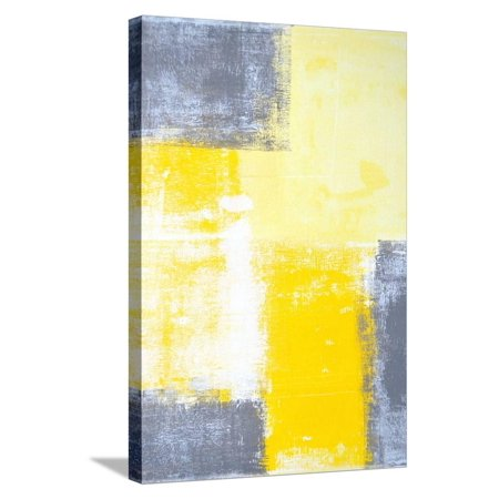 Grey And Yellow Abstract Art Painting Stretched Canvas Print Wall Art By T30Gallery ()