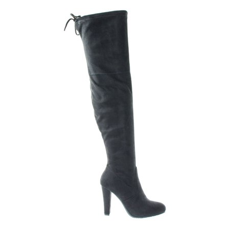 Dasiah1 by Bamboo, Women High Block Heel OTK Over The Knee Dress Boots, Black Top Lace Tie - Black Lace Boots