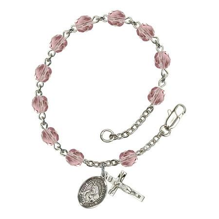 St. Margaret of Cortona Silver Plate Rosary Bracelet 6mm June Light Purple Fire Polished Beads Crucifix 5/8 x 1/4 medal