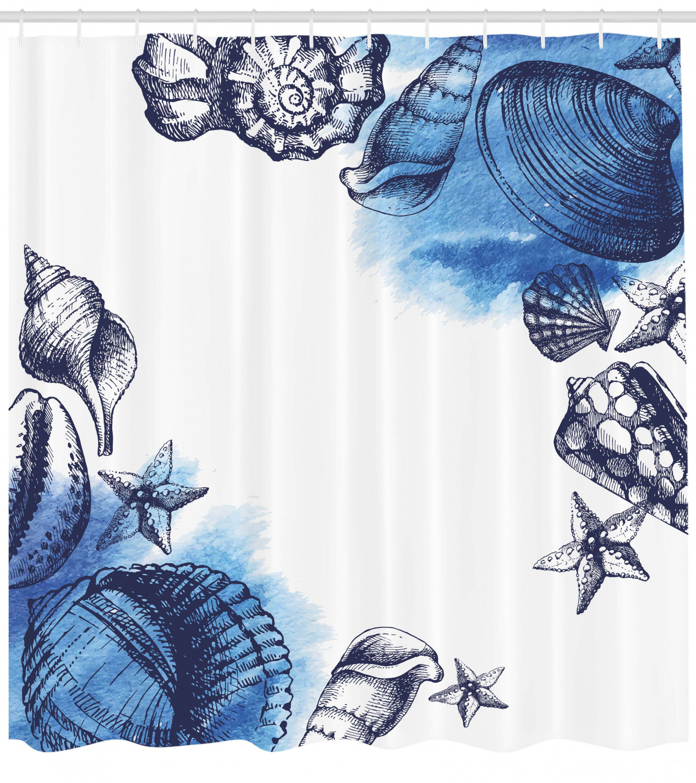"72/"" Funny Shower Curtain Hooks Fabric Bathroom Set Blue Ocean Fish Starfish Sea"