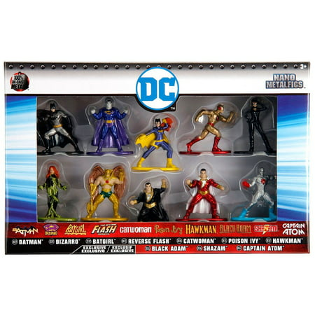 DC Nano Metalfigs Batman, Bizarro, Batgirl, Reverse Flash, Catwoman, Poison Ivy, Hawkman, Black Adam, Shazam! & Captain Atom Diecast Figure 10-Pack