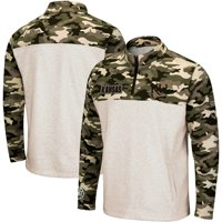 Kansas Jayhawks Colosseum OHT Military Appreciation Desert Camo Quarter-Zip Pullover Jacket - Oatmeal