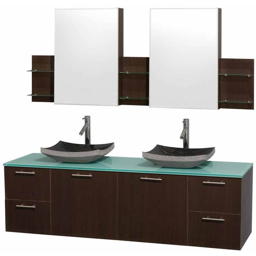 Wyndham Collection Amare 72 inch Double Bathroom Vanity in Espresso with Green Glass Top with Black Granite Sinks, and Medicine Cabinets