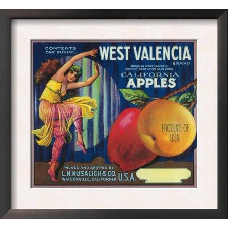 West Valencia Apple Crate Label - Watsonville, CA Framed Art Print Wall Art  - 16x11
