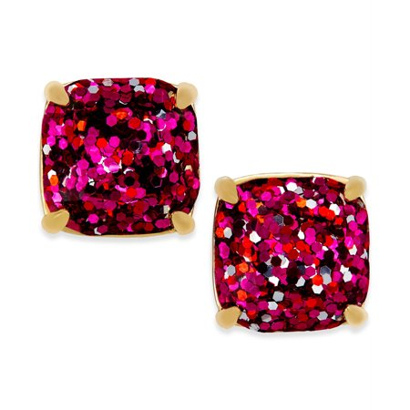 kate spade New York Pink Multi Glitter Small Square Stud Earrings