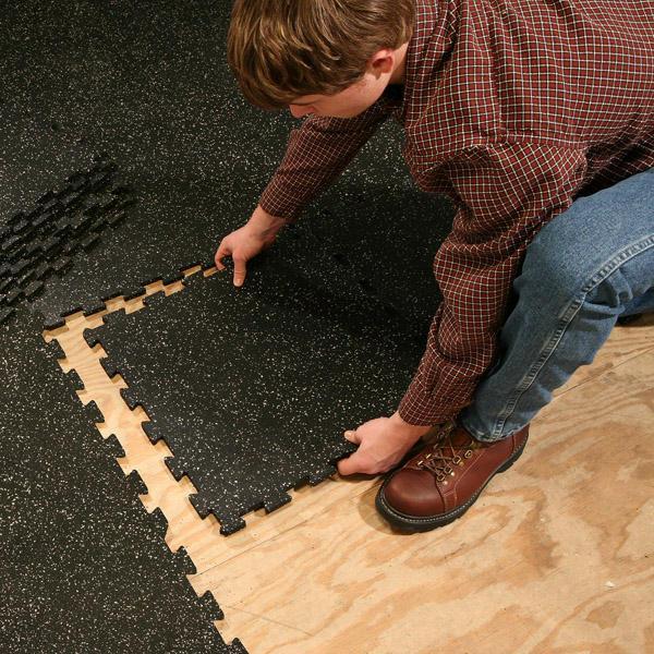 4 Piece Interlocking Mat Black-Color:Grey Speck