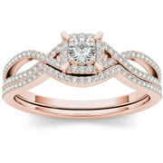 1/3 Carat T.W. Diamond Cluster Double Halo 14kt Rose Gold Engagement Ring Set