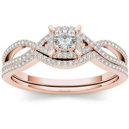 Imperial 1 3 Carat TW Diamond Cluster Double Halo 14kt Rose Gold Engagement Ring Set