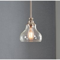 Wren Brushed Steel with Clear Glass 1 Light Mini Pendant