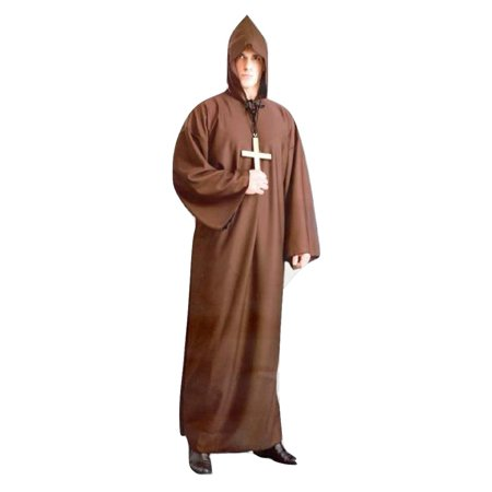 Brown Monk Robe Costume Friar Francis Medieval Religious Renaissance Adult Mens (Medieval Costumes For Children)