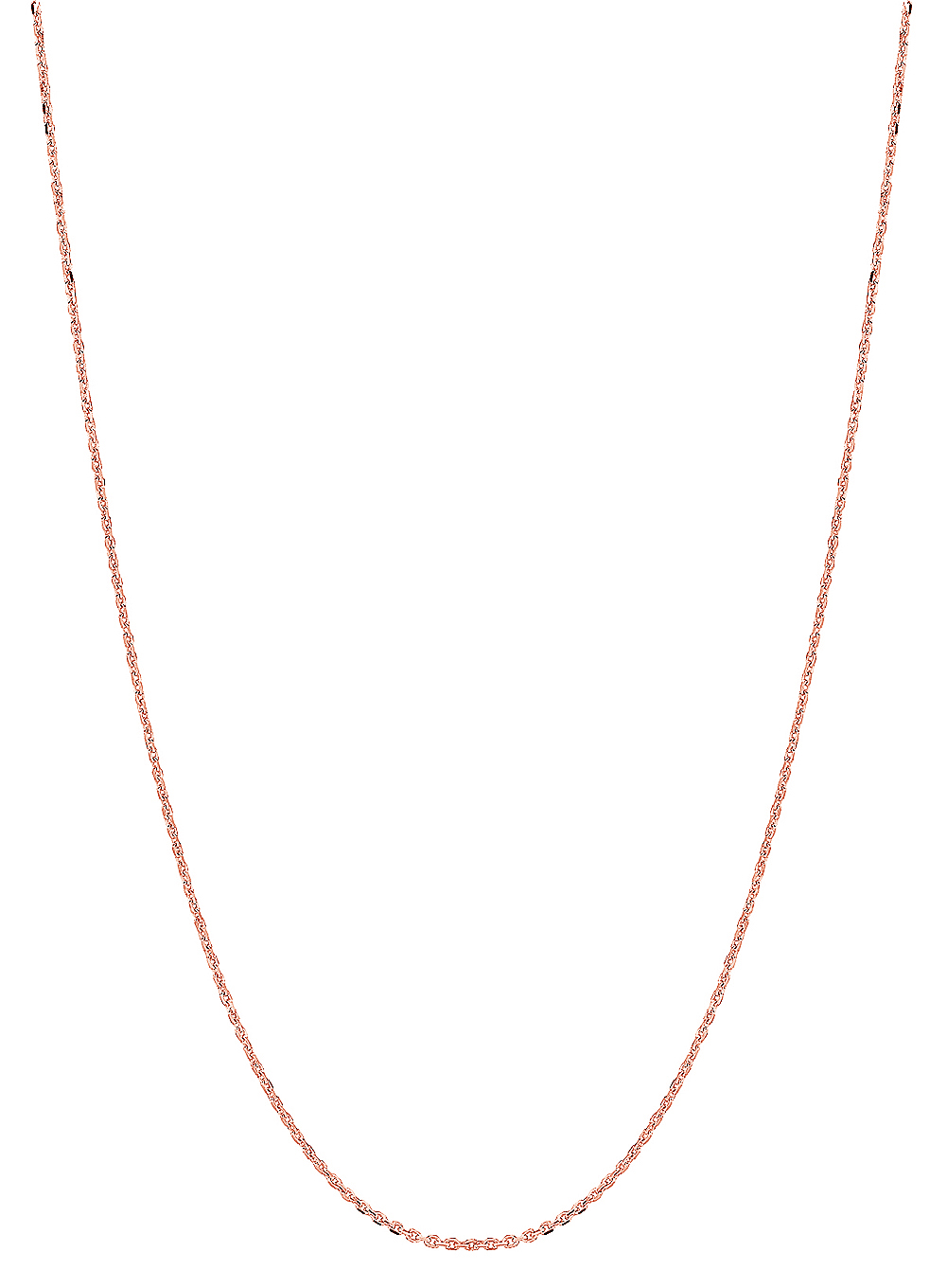 14k Solid Rose Pink Gold Diamond-Cut Cable Link Chain Necklace 1.1 Mm 20 Inches by JewelStop