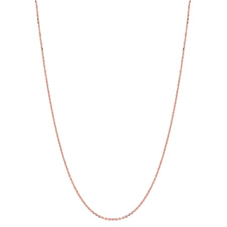 14k Solid Rose Pink Gold Diamond-Cut Cable Link Chain Necklace 1.1 Mm 20 Inches