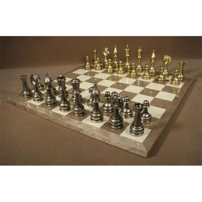 WW Chess 82M-GY Large Metal Staunton on Grey Briar Board Chess Set Games by WW Chess