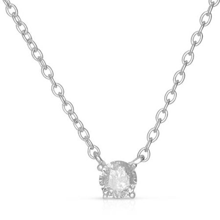 Sterling Silver Round Diamond Solitaire Necklace