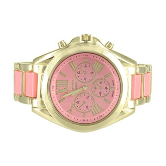 Pink Dial Womens Watch Gold Tone Roman Numeral Hour Mark Water Resistant Geneva