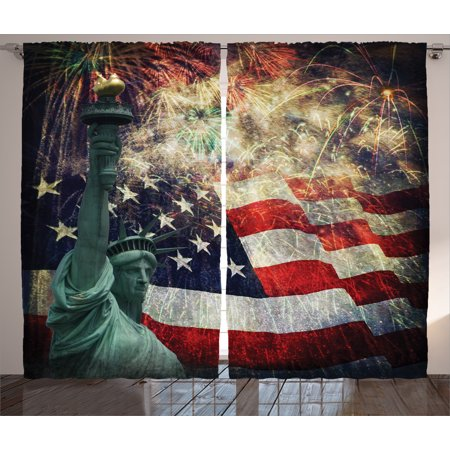 American Flag Decor Curtains 2 Panels Set  Composite Photo Of States Idols With Fireworks On Background 4Th Of July  Window Drapes For Living Room Bedroom  108W X 84L Inches  Multi  By Ambesonne