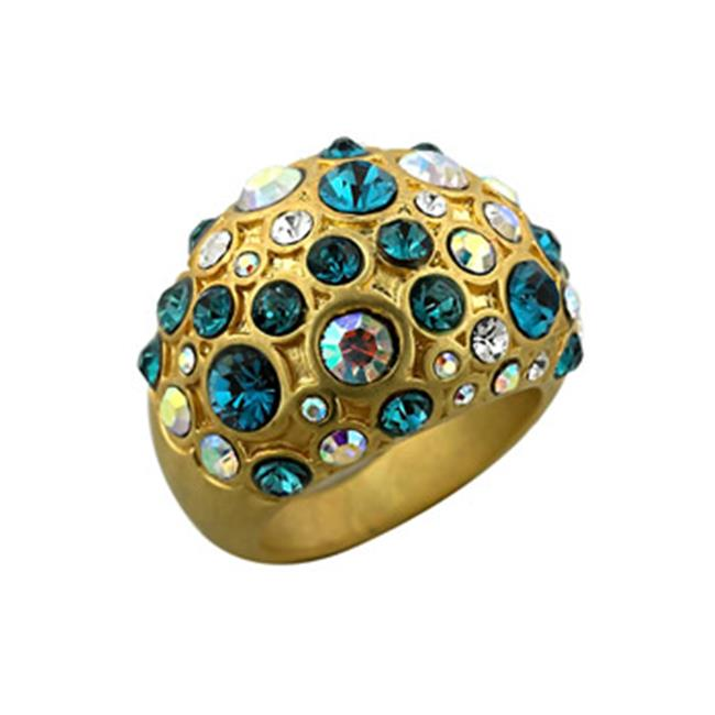 Worn Gold Plated Cocktail Ring with Aurora Borealis and Aqua Crystals Pave Set in Worn Goldtone - Size 8
