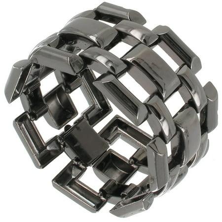 (Gun Metal Black Tone Large Chunky Wide Square Link Bracelet Ladies Made In USA)
