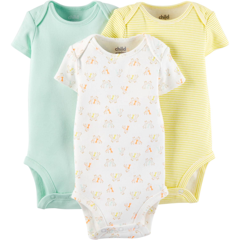 Child Of Mine By Carter's Newborn Baby Boy, Girl or Unisex Short Sleeve Bodysuit, 3 Pack