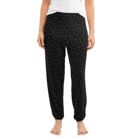 Stretch Cotton Womens Lounge Pants (Secret Treasures Essentials Women's and Women's Plus Elastic Band Sleep)