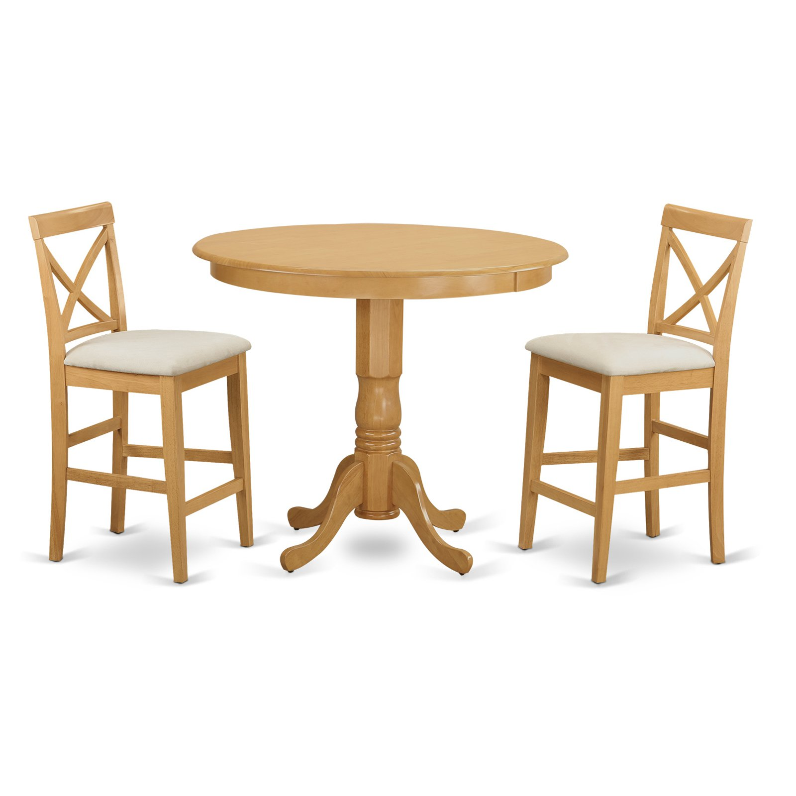 East West Furniture Trenton 3 Piece High Cross Dining Table Set