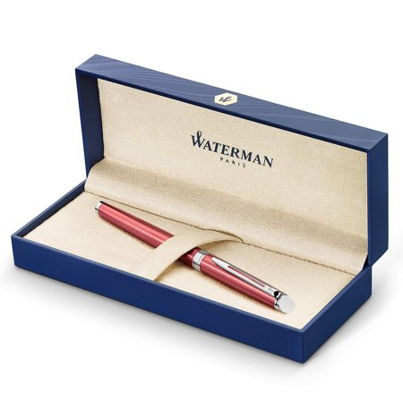 Waterman Hemisphere Fountain Pen, Coral Pink Lacquer with Chrome Trim, Medium Nib with Blue Ink Cartridge, Gift Box