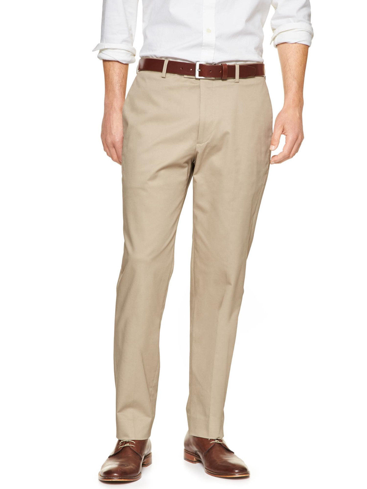 Banana Republic Mens Non Iron Slim Fit Dress Pants Khaki Beige 36W x 34L