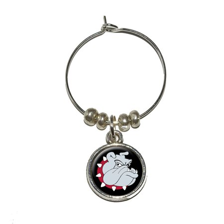 - Bulldog Dog Wine Glass Charm